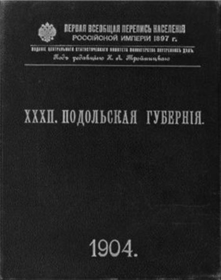 Первая всеобщая перепись населения Российской Империи, 1897. Подольская губерния