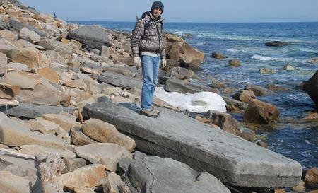 Древняя каменная плита с металлическими вкраплениями на берегу острова Русский